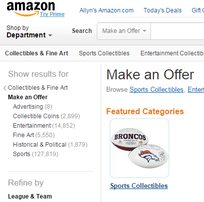 Amazon MakeAnOffer Webpage